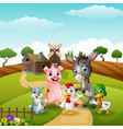 happy animals on farm background vector image