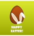 happy easter card with egg and hiding rabbit vector image vector image