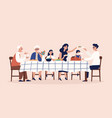 happy people sitting at table eating holiday vector image vector image