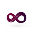 infinity love symbol love forever text for vector image