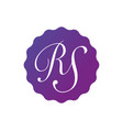 initial letter rs in the purple gradient badge vector image vector image