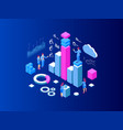 isometric expert team for data analysis business vector image vector image