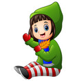little girl in green winter jacket holding autumn vector image