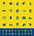 Map sign and symbol color icons on yellow vector image vector image