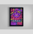 mardi gras poster design template in neon style vector image