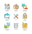 minimal lineart flat engineering iconset vector image vector image
