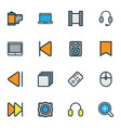 multimedia icons colored line set with amplifier vector image vector image