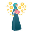 muslim business woman holding a piggy bank vector image vector image