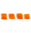 orange watercolor paint brush strokes set four vector image