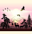 outdoor background with silhouettes animals vector image vector image