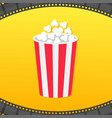 popcorn round box film strip rounded frame movie vector image vector image