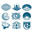 ramadan kareem labels vintage badges vector image vector image