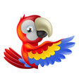 red pointing cartoon parrot vector image vector image