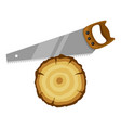 saw and wood stump for forestry and vector image vector image
