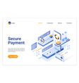 secure payment isometric landing page vector image vector image