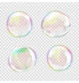 set multicolored transparent soap bubbles vector image