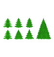 set of christmas trees in a flat style vector image
