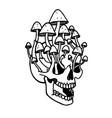 Skull tattoo with mushrooms traditional black dot