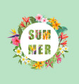 tropical flowers and palms summer graphic vector image vector image
