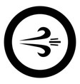 wind icon black color in circle or round vector image vector image