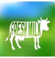 Cow silhouette with text inside about fresh milk vector image