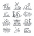 farm and farming fields linear icons vector image