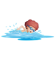 A boy swimming at the sea vector image vector image