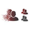 broken pixel halftone users icon vector image vector image