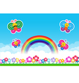 Butterfly Rainbow on Nature background with green vector image vector image