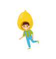 cartoon kid character in bright fruit costume vector image