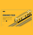 concept banner with unmanned electric train vector image vector image