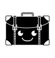 contour happy travel backpack kawaii cartoon vector image vector image
