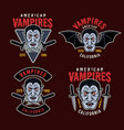 dracula vampire colorful emblems or patches vector image vector image