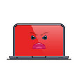 enraged laptop computer isolated emoticon vector image vector image