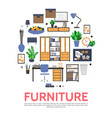 flat furniture elements round concept vector image