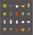 food icons collection Flat design vector image vector image