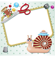 Frame with snail the seamstress with scissors a vector image vector image