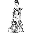 geisha in traditional costume vector image vector image