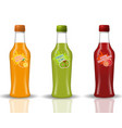 glass beverage bottle set fresh juices lemonade vector image