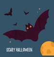 halloween holiday card with flying bats and moon vector image