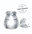 hand drawn sketch style jar with milk yogurt or vector image