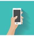 Hand holding smartphone with blank screen vector image vector image