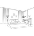 home living room interior outline sketch of vector image