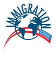 immigration word concept around world with vector image vector image