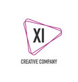 initial letter xi triangle design logo concept vector image vector image