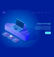 isometric cloud data storage web page template vector image