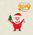 little funny pig in a suit of santa claus chinese vector image vector image