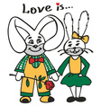 loving rabbits vector image vector image