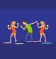 male singer and dancing girls fan dancers in club vector image vector image
