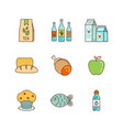 minimal lineart flat food iconset tea pack wine vector image vector image